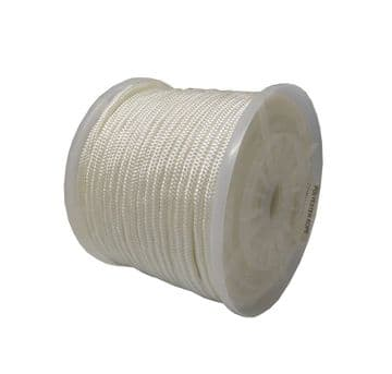 5mm x 100 metres WHITE SOLID BRAIDED STARTER ROPE marine boat yacht engine deck